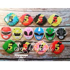 Power up! Monkey Birthday Parties, Birthday Cookies, Birthday Favors, 5th Birthday, Birthday Party Themes, Birthday Ideas, Power Ranger Party, Power Ranger Cake, Power Rangers Birthday Cake
