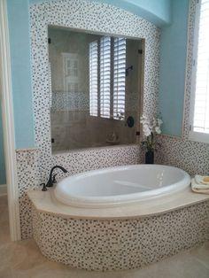 Master Bath tub/shower idea - Huntington Homes Bath Tub, Shower Tub, Bath Room, Wrought Iron Staircase, Huntington Homes, Fort Worth, Granite Countertops, Bathroom Interior, Master Bathroom