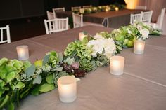 greenery + succulent garland centerpiece | A Bryan Photo #wedding
