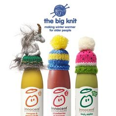 Big Knit is back. Help raise money for Age UK to keep older people warm this winter, Get involved by knitting some little hats Innocent Drinks, Big Knits, Winter Warmers, Creative Advertising, Loom Knitting, How To Raise Money, Paper Flowers, Nerdy, Smoothies