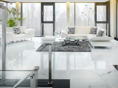 Wartebereich in einem Büro. Material: Marmor Statuario Design, Produktion und Verlegung von Winzer Natursteine GmbH
