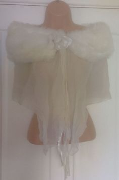 Ladies Scarf Scarves Shawl Wrap Right Wedding Party Formal Fur Effect Off White £14.99