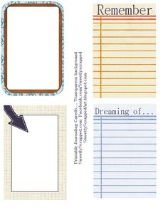 Sweetly Scrapped: Printable Journaling Cards free