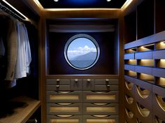 Robe in a super yacht - would work in a normal home Luxury Yacht Interior, Luxury Office, Boat Interior, Yacht Design, Boat Design, Yatch Boat, Deck Boat, Cool Boats, Super Yachts