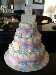 Blue Ba Shower Diaper Cake Centerpiece From Scratch With Maria with regard to measurements 1935 X 2592 Neutral Baby Shower Diaper Cakes - Arranging a baby shower celebration and planning what favors to give would be a great deal of fun. If you will think of baby shower favor ideas, certainly a lot of adorable items