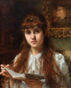 Girl Reading, by Alexei Harlamoff Girl Reading Book, Reading Art, Woman Reading, Writing A Book, Children Reading, Reading Books, John Singer Sargent, Johann Wolfgang Von Goethe, Pictures Of People