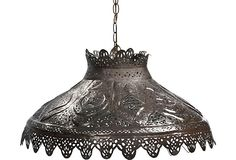 "1900s American perforated tin pendant light. The layered design gives a warm glow. Wired and in working condition. 44""L chain and ceiling canopy are included."
