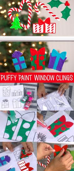 So fun!! Use puffy paint to make window clings. Love this idea, so easy for the kids to do! There are free Christmas patterns for these window clings too, or you could draw your own or use coloring pages. So many ideas!