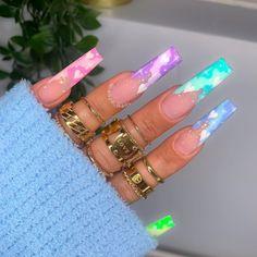 Clear Acrylic Nails, Bling Acrylic Nails, Acylic Nails, Cute Acrylic Nail Designs, Luxury Nails, Fire Nails, Dream Nails, Purple Nails, Pastel Purple