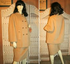60's Mod Camel Wool Ensemble, Coat and Skirt M, by MorningGlorious