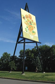 Across Canada, there are hundreds of interesting roadside attractions. This site is dedicated to cataloging our nation's large roadside attractions. Yellow Painting, Large Painting, Postmodern Art, Van Gogh Sunflowers, Amusement Park Rides, High School Art, Roadside Attractions, Art Lesson Plans, Teaching Art