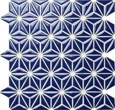 Ceramic Mosaic Tile Flower Navy Blue for kitchen backsplash and bathroom wall