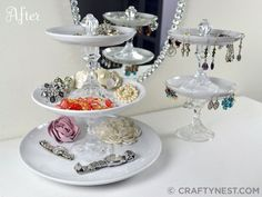 Plates + candlesticks + knobs = Tiered jewelry trays - 25 Unbelievably Creative & Useful DIY ideas