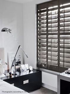 Dark wood shutters white trim Black Indoor Shutters Window Wood