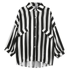 Oversized Button Up Striped Blouse Black (325 CZK) ❤ liked on Polyvore featuring tops, blouses, oversized tops, striped top, stripe top, button up top and button down top
