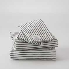 sheet set | schoolhouse electric | cotton percale | black, white | stripe | rustic, traditional | $200K, $170Q, $150F