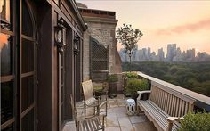 Balcony of a New York City apartment with a spectacular view overlooking Central Park.
