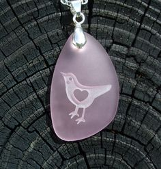 Lil' LoveBird with 3D heart - makes my heart sing - engraved on Ocean beach Sea Glass pendant - choose your color