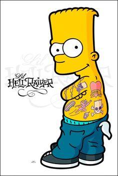 Hellraiser - The Simpsons Simpsons Tattoo, Simpsons Drawings, Simpsons Art, Cartoon Drawings, Cartoon Art, Simpson Wallpaper Iphone, Lip Wallpaper, Bart Simpson, Desenho Tom E Jerry
