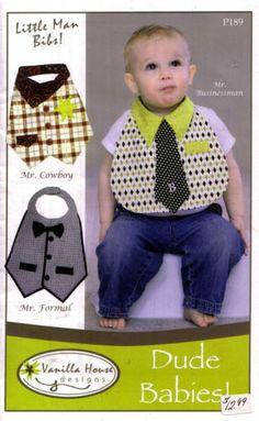 Dude-Babies-Little-Man-Bibs-Sewing-Pattern-3-Styles-Uncut