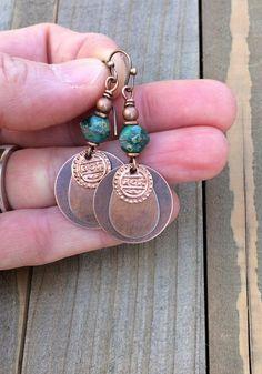 Bohemian Earrings - Dangle Earrings - Drop Earrings - Boho Earrings Dangle, Boho Earrings, Copper Dangle Earrings - Gift for Women Copper Earrings, Boho Earrings, Drop Earrings, Gypsy Jewelry, Wire Jewelry, Antique Copper, Bohemian Style, Gifts For Women, Dangles