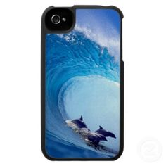 Cool photo of surfing dolphins, iPhone 4 case.