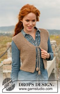 "Wild West - Knitted DROPS small vest in garter st in ""Nepal"". Size: S to XXXL. - Free pattern by DROPS Design"