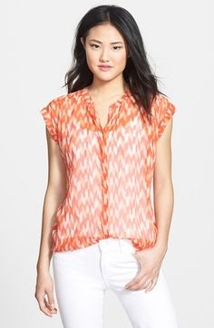 Lucky Brand Ikat Print Cap Sleeve Top available at #Nordstrom