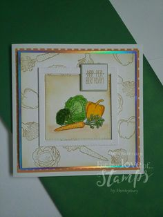 For The Love of Stamps Mixed Vegetables stamp set Hunkydory Crafts, Mixed Vegetables, Cardmaking, Stamping, Birthday Cards, Card Ideas, Masks, Lemon, Trees