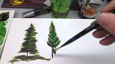 peindre un sapin sous la neige - YouTube