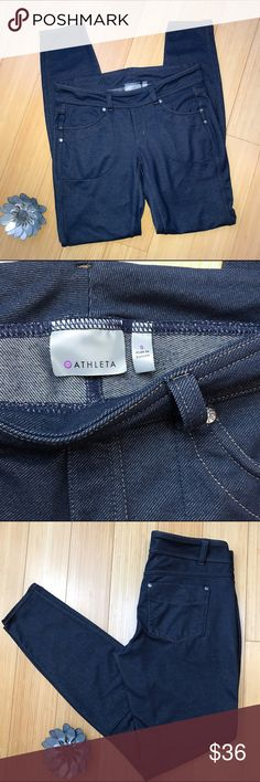 ATHLETA denim look leggings, S b Athleta stretch denim looking leggings, size small. Real pockets in the front and back, these jeggings look like jeans and feel like yoga pants. Waist is 14 inches and stretchy, rise 7.5 inches, inseam 29 inches. Perfect condition! Athleta Pants Leggings