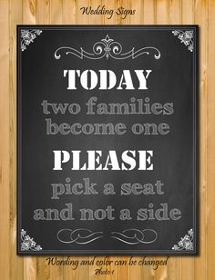 Chalkboard Wedding sign Pick a seat not a side by chalkboarddesign, $7.99