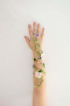 Spring Fairy Arm Cuff by Frecklesfairychest on Etsy, $30.00 - this is a neat idea for a Poison Ivy cosplay