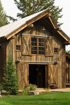 Rustic Barn : Classic Sliding Barn Door : Gooseneck Barn Lights