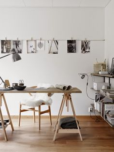 Light wood workspace, ecolo-chic