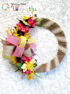 Summer Burlap Wrapped Ribbon Wreath, Country Summer Wreath, Sunflower Wreath, Pink and Yellow Floral Wreath, Elegant Country Burlap Wreath by WishingWellWreaths on Etsy wishingwellwreaths.etsy.com