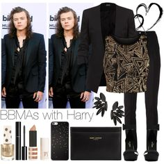 BBMAs with Harry by beatrizpalma27 on Polyvore featuring moda, Parisian, Karl Lagerfeld, Yves Saint Laurent, Topshop and Chanel