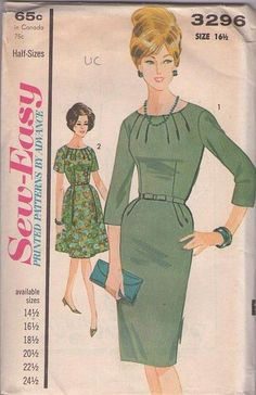 MOMSPatterns Vintage Sewing Patterns - Advance 3296 Vintage 60's Sewing Pattern VIXEN Sew Easy Mad Men JOAN Radiating Seams Cocktail Party D...