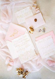 Ethereal Rose Quartz Bridal Inspiration in Ibiza Blush pink pastel pocket wedding invitation, spring wedding ideas, DIY weddings on a budget Pastel Wedding Stationery, Blush Wedding Invitations, Wedding Stationary, Party Invitations, Pink Und Gold, Blush And Gold, Blush Pink, Pink And Gold Wedding, Lettering
