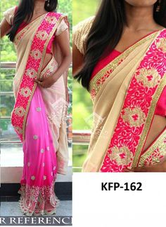 Buy Georgette Light Pink & Cream Replica Saree