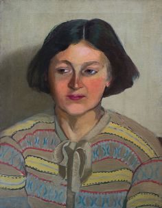 Evelyn Dunbar (England 1906-1960), Portrait of a Woman Wearing a Fair Isle Cardigan, o/c, c.1932. The subject is probably the artist's cousin, Vera Swain (née Murgatroyd), who spent much of her life in Sri Lanka. Dunbar was a very individual artist of spirited imagination and consummate technique, whose work, which hangs in all major UK galleries and several overseas, defies ready classification. Private collection.