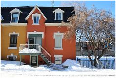 The colourful houses of Rue Drolet in Montreal