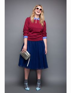 Discover a unique collection of designer tops: blouses, bodysuits and tunics styled for a flattering fit. Curvy Girl Fashion, Retro Fashion, Plus Size Fashion, Women's Fashion, Curvy Outfits, Plus Size Outfits, Plus Size Sweaters, Full Skirts, Plus Size Tops