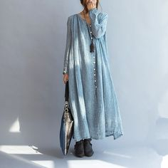 Casual loose linen women maxi dress long sleeve