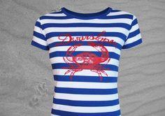 lässiges Shirt mit blau/weissen Blockstreifen  Streifen 2cm Breite  Dwarslöper ist plattdeutsch und bezeichnet die Krabbe als  Seitenläufer/Querläu...