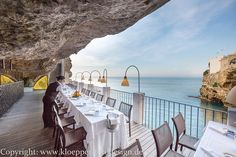 Grotta Palazzese Hotel and Ristorante in Polignano a Mare Commercial Design, Greece Travel, Running Away, Travel Inspiration, Italy, Restaurant, Vacation, World, Nature