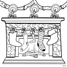 christmas chimney and christmas stocking coloring page
