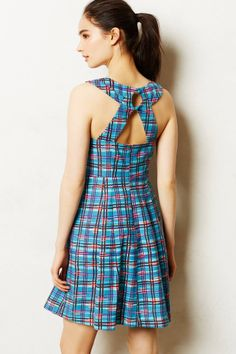 Cerulean Plaid Dress - anthropologie.com