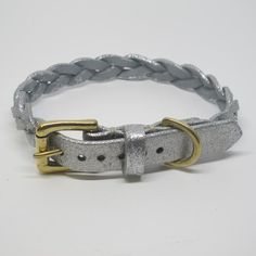 Personalised Silver Glitter Plaited Leather Dog Collar