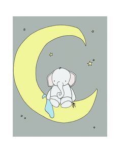 Custom Grey 11x14 Elephant Nursery Art Print by sweetmelodydesigns, $20.00